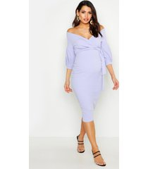 maternity off the shoulder wrap midi dress, lilac