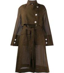 eudon choi lois sheer trench dress - brown