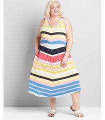 lane bryant women's sleeveless racerback midi dress 22/24 chevron stripe