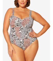 bleu by rod beattie plus size animal-print shirred underwire one-piece swimsuit women's swimsuit