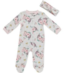 cutie pie baby baby girls floral-print cotton coverall & headband set