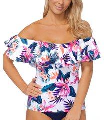 island escape la flor tankini top, created for macy's women's swimsuit