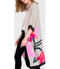 tapado io kimono estampado multicolor - calce holgado