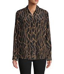 chain-print silk shirt