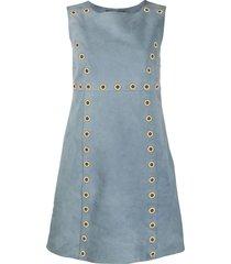 alberta ferretti eyelet embellished suede dress - blue