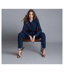 lez a lez - macacão mídi utilitário cinto jeans