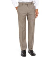 men's big & tall zanella parker flat front sharkskin wool trousers, size 44 x - beige