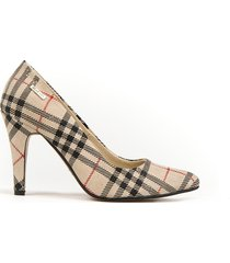 skórzane szpilki zapato 035 kolor beż kratka