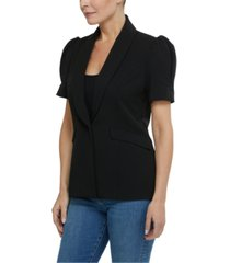 laundry by shelli segal puff-shoulder shawl-collar blazer