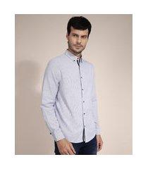 camisa de algodão comfort listrada manga longa azul marinho