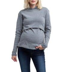 women's nom maternity rory maternity/nursing hoodie, size large - grey