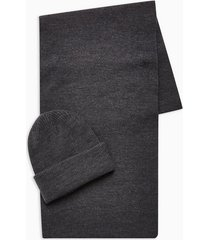 mens 2 grey ribbed beanie and scarf multipack
