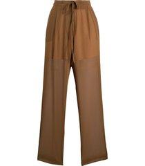 alysi elasticated sheer trousers - neutrals