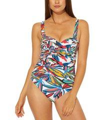 bleu by rod beattie printed bandeau one-piece swimsuit women's swimsuit