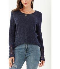 yoins camiseta de punto azul marino con botones de crochet y encaje super soft