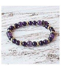 amethyst beaded bracelet, 'beautiful thai in purple' (thailand)