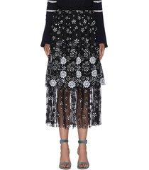 """""""deco' paneled sequin embellished floral skirt"""