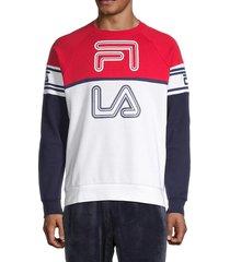 fila men's colorblock cotton-blend sweatshirt - white charcoal - size xxl