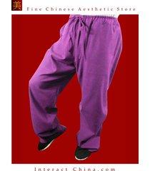 100% cotton purple kung fu martial arts taichi pant trousers tailor custom made