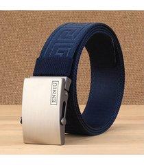 cinturón de hombres, cinturón de lona de hebilla-azul