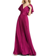 ieena for mac duggal angel sleeve satin a-line gown, size 10 in raspberry at nordstrom