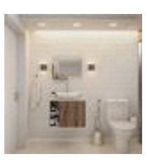 conjunto para banheiro gabinete com cuba folha l38 e espelheira soft 600 branco com nogal