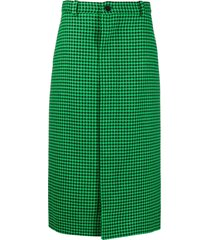 balenciaga houndstooth straight skirt - green