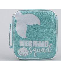 """lancheira térmica escolar infantil """"mermaid squad"""" com brilho verde claro"""