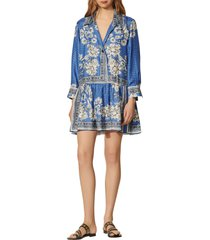 women's sandro chloe floral bandana long sleeve silk dress, size 10 us - blue