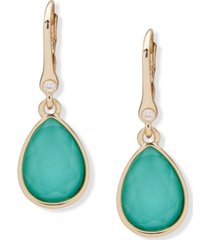 dkny gold-tone pave & stone drop earrings