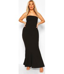 plus bandeau fishtail maxi dress, black