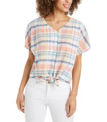 style & co petite tie-front blouse, created for macy's