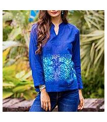 cotton batik blouse, 'deep sea' (thailand)