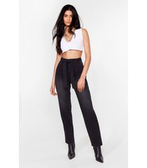 womens let 'em tie again belted high-waisted jeans - washed black