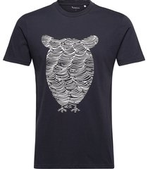 alder tee owl wave print - gots/veg t-shirts short-sleeved creme knowledge cotton apparel