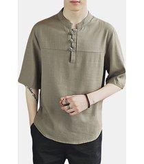t-shirt in cotone lino tinta unita
