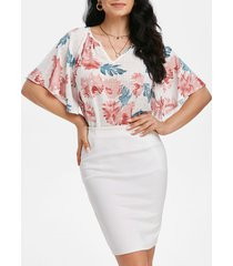 flower print raglan sleeve tunic blouse