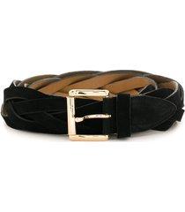 eva suede woven belt - black