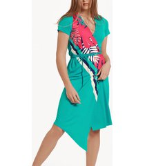 jurk lisca tahiti asymmetrische zomerjurk met korte mouwen