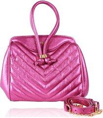 bolsa infantil campezzo couro pink metalizado matelassê