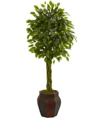 nearly natural 4.5' braided ficus artificial tree in decorative planter
