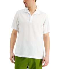 inc international concepts men's classic-fit solid popover camp shirt, created for macy's