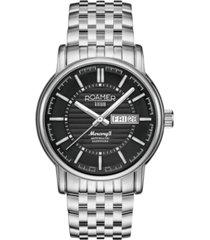 roamer men's 3 hands day date 42 mm dress watch in stainless steel case and steel bracelet