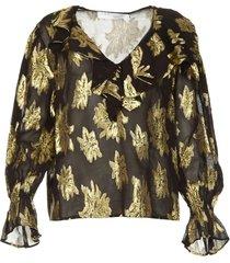 blouse met lurex bloemen labra  zwart
