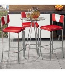 mesa bistrô 3 banquetas cj49 branco/vermelho/vidro - pozza