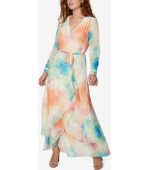 sage collective tie-dyed wrap a-line dress