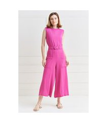 macacáo mx fashion pantacourt de crepe malu rosa