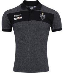 camisa polo do atlético-mg viagem 2017 topper escura - masculina - preto