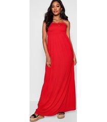gesmokte bandeau maxi-jurk, rood