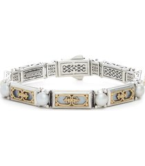 women's konstantino etched silver & gold link bracelet with genuine pearl
